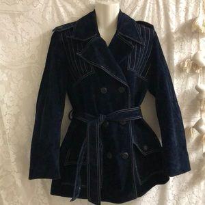 Fleet Street navy blue velvet trench coat  sz M